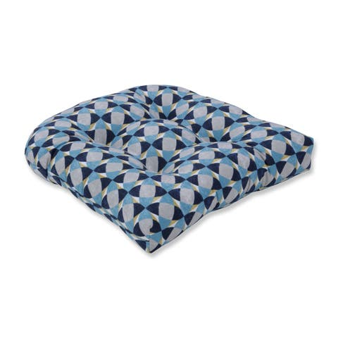 Pillow Perfect Indoor Echo Geo Peacock Wicker Seat Cushion, 19 in. L X 19 in. W X 5 in. D