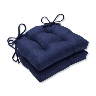 Pillow Perfect Indoor Sonoma Navy Reversible Chair Pad (Set of 2), 16 in. L X 15.5 in. W X 4 in. D