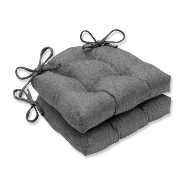 Pillow Perfect Indoor Sonoma Pewter Reversible Chair Pad (Set of 2), 16 in. L X 15.5 in. W X 4 in. D