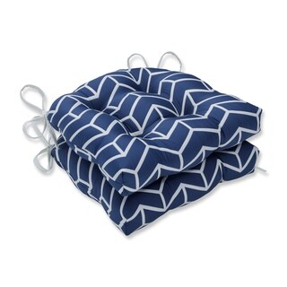 Pillow Perfect Indoor Wingtip Navy Reversible Chair Pad (Set of 2), 16 in. L X 15.5 in. W X 4 in. D