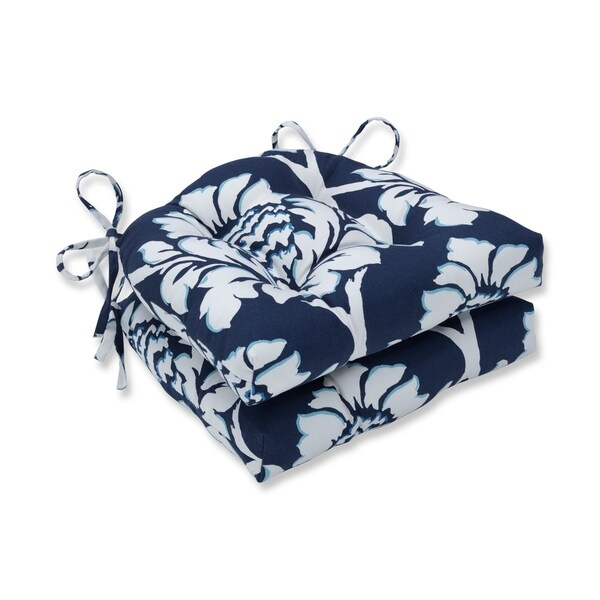 Pillow Perfect Indoor Palm Gardens Indigo Reversible Chair Pad (Set of 2), 16 in. L X 15.5 in. W X 4 in. D