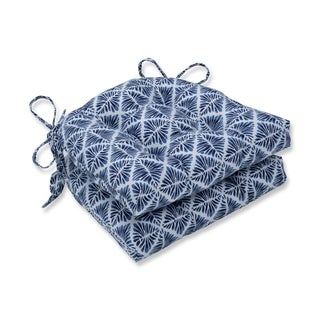 Pillow Perfect Indoor Gem Field Indigo Reversible Chair Pad (Set of 2), 16 in. L X 15.5 in. W X 4 in. D