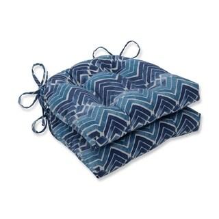 Pillow Perfect Indoor Zen Blend Indigo Reversible Chair Pad (Set of 2), 16 in. L X 15.5 in. W X 4 in. D