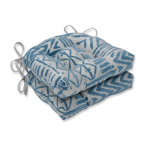Pillow Perfect Indoor Bissau Blue Diamond Reversible Chair Pad (Set of 2), 16 in. L X 15.5 in. W X 4 in. D