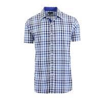 Galaxy By Harvic Men's Short Sleeve Slim Fit Gingham Casual Dress Shirts