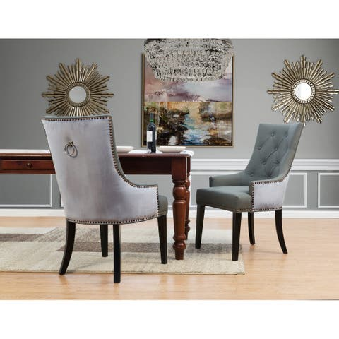 Chic Home Gilbert PU Leather and Velvet Dining Chair, Set of 2