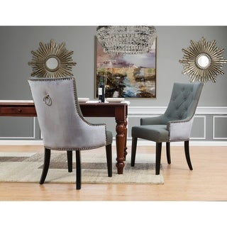 Chic Home Gilbert PU Leather and Velvet Dining Chair, Set of 2 - N/A