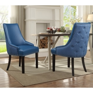 Chic Home Cooper PU Leather and  Linen Upholstered Dining Chair, Set of 2 (navy)