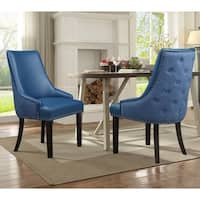 Chic Home Cooper PU Leather and  Linen Upholstered Dining Chair, Set of 2 - N/A