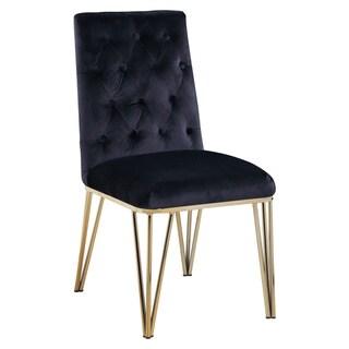 Chic Home Freya Velvet Upholstered Dining Chair,Set of 2 (Black)