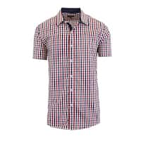 Galaxy By Harvic Men's Short Sleeve Slim Fit Plaid Casual Dress Shirts