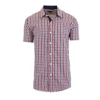 Galaxy By Harvic Men's Short Sleeve Slim Fit Plaid Casual Dress Shirts