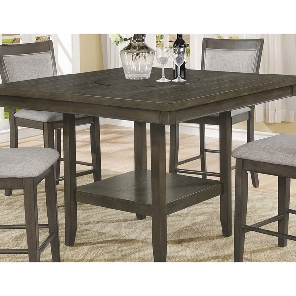 Superior Ash Wood Counter Height Dining Table With Lazy Susan