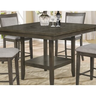 Ash Wood Counter-height Dining Table with Lazy Susan