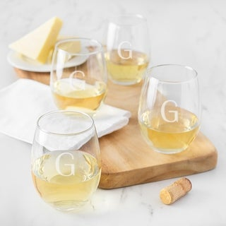Personalized 15 oz. Stemless Wine Glasses (Set of 4) (More options available)