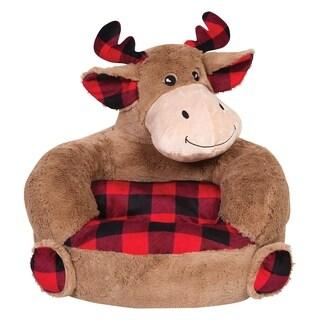 Children's Plush Buffalo Check Moose Character Chair