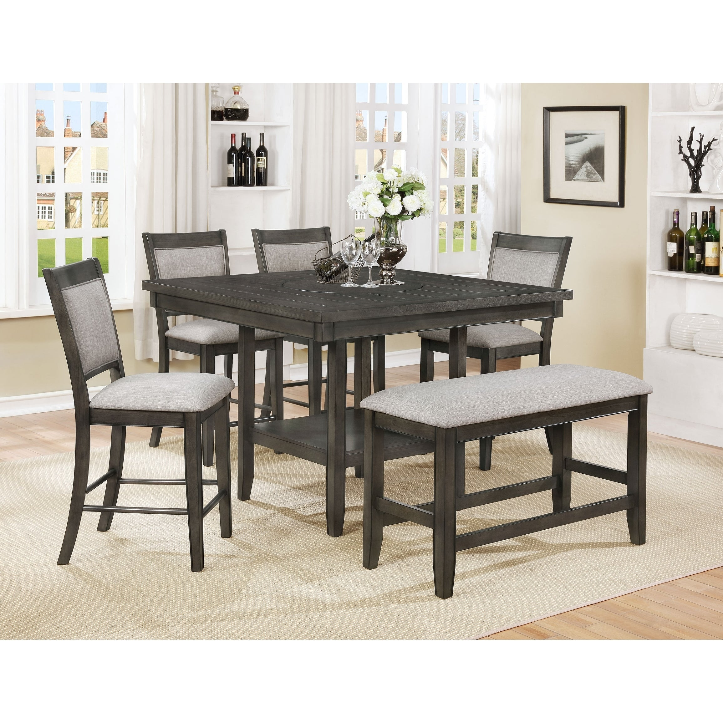 OS Home and Office Model 2727KB Counter Height Dining Table with Four Upholstered Chairs and One Bench