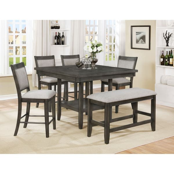 Shop Os Home And Office Model 2727kb Counter Height Dining Table With Four Upholstered Chairs And One Bench On Sale Overstock 22425234