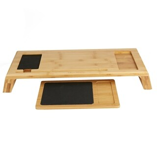 Mind Reader Monitor Stand with Mouse Pad, Black Mouse Pad, Office, Desk, Laptop, Eco Friendly Bamboo Brown