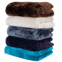 Windsor Home Solid Soft Heavy Thick Weighted Plush Mink Blanket in Beige (As Is Item)