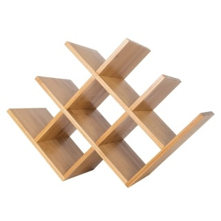 Bamboo 8 Bottle Wine Rack-Space Saving Tabletop Free Standing Wine Bottle Holder Classic Cuisine