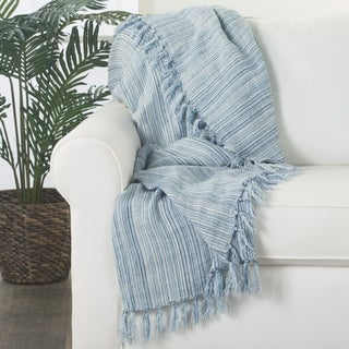 Naut Stripe Blue/White Fringe Throw