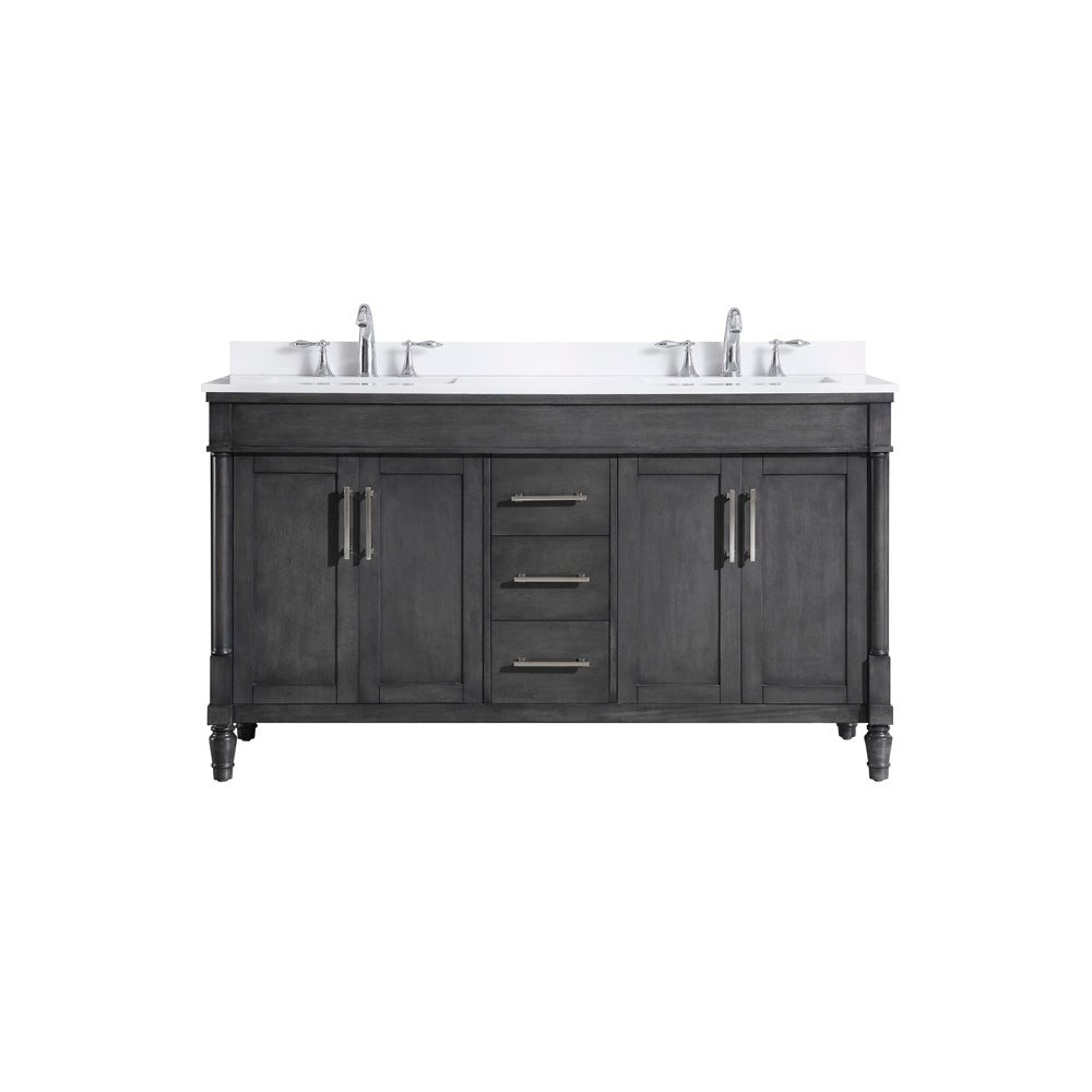 OVE Decors Layla 60 in. Iron Grey Double Sink Vanity with White Marble Top