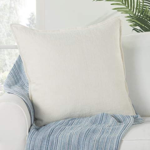 Bay Solid Ivory Poly Throw Pillow 22 inch