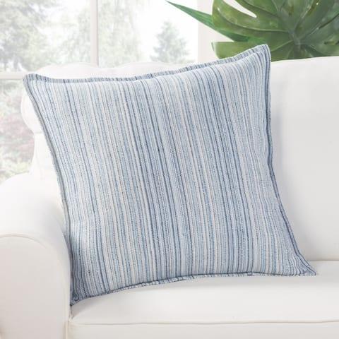 Augustine Stripe Blue/ White Poly Throw Pillow 22 inch