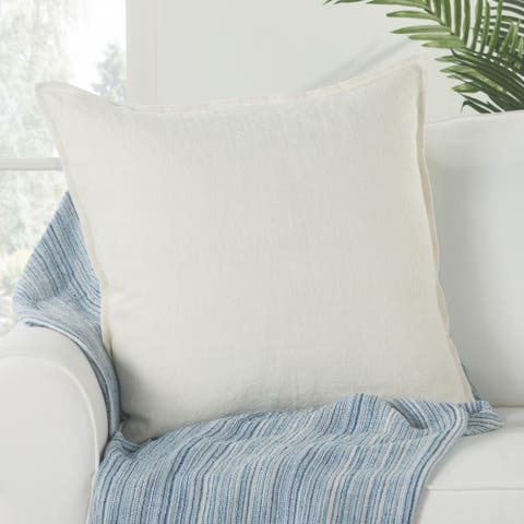Bay Solid Ivory Down Throw Pillow