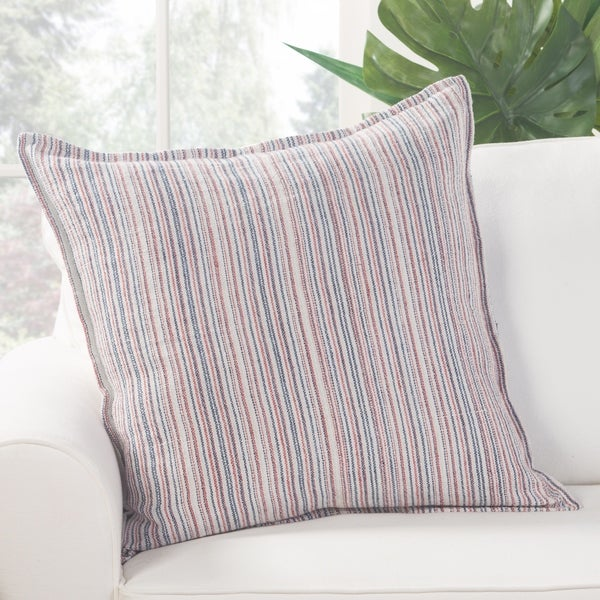Augustine Stripe Red/ Blue Poly Throw Pillow 22 inch