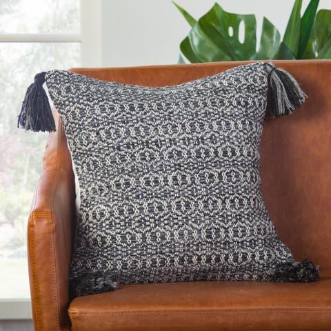 Halliday Trellis Black/ Gray Poly Throw Pillow 18 inch