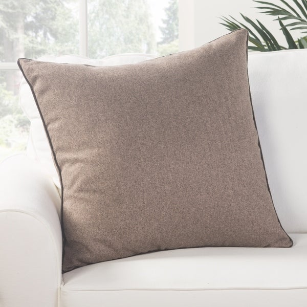 Park Solid Light Brown Down Throw Pillow 22 inch