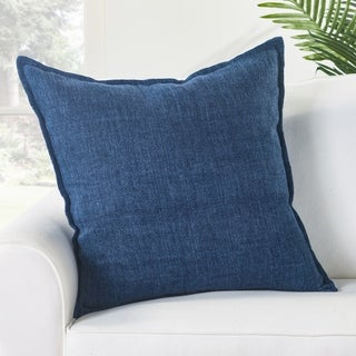 Bay Solid Blue Down Throw Pillow 22 inch