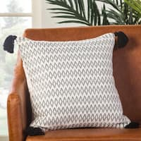 Lunzer Geometric White/ Black Poly Throw Pillow 18 inch