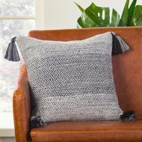 Somerset Geometric Gray/ White Down Throw Pillow 18 inch