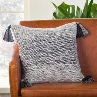 Somerset Geometric Gray/ White Down Throw Pillow 18 inch