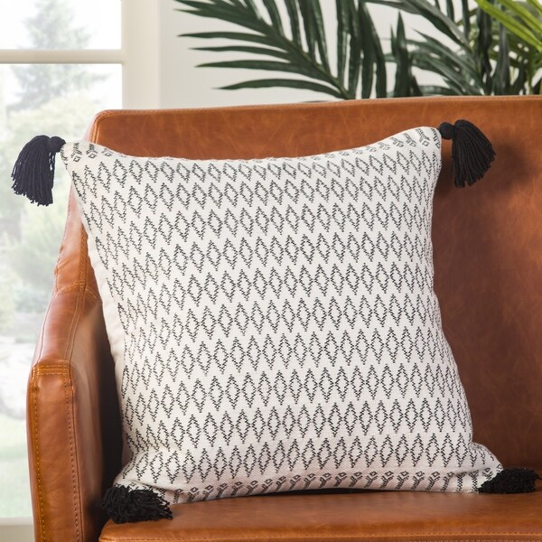 Lunzer Geometric White/ Black Down Throw Pillow 18 inch