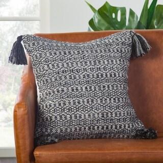 Halliday Trellis Black/ Gray Down Throw Pillow 18 inch