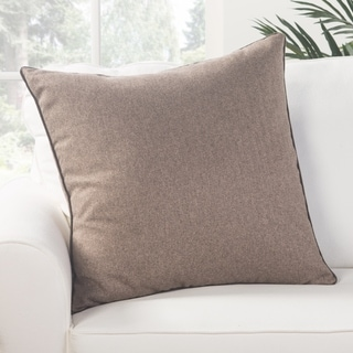 Park Solid Light Brown Poly Throw Pillow 22 inch