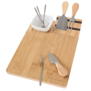 9 Piece Bamboo Cheese Serving Tray Set with Stainless Steel Cutlery and Dish Classic Cuisine