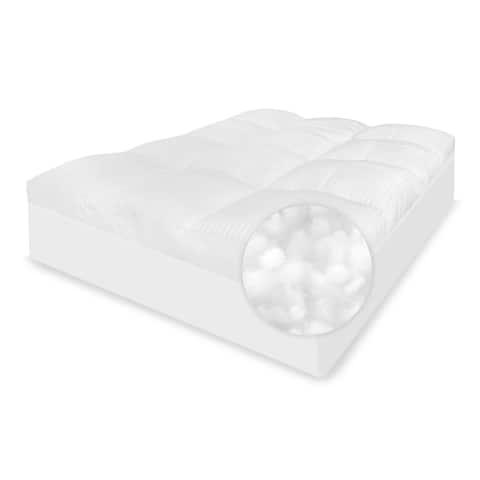SwissLux 5-Inch 500 Thread Count Tencel Fiber Cover Mattress Topper - White