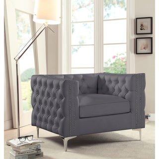 Chic Home Monet PU Leather Club Chair, Grey (Grey)