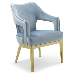 Chic Home Danu Velvet Upholstered Accent Chair (Blue)