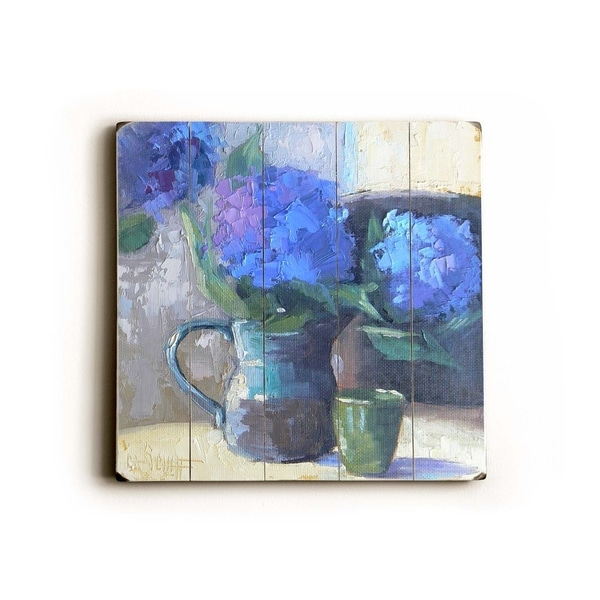 Blue Flower Spout - Planked Wood Wall Decor by Carol Schiff
