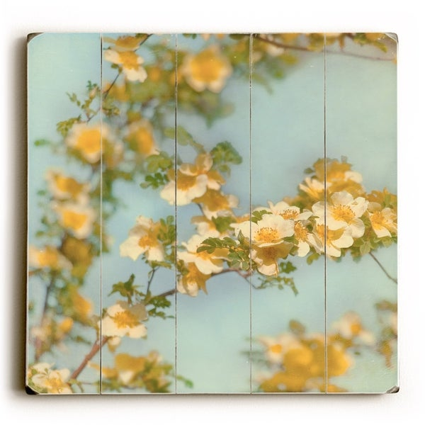 Yellow Flower - Planked Wood Wall Decor by Vanessa Fahmy