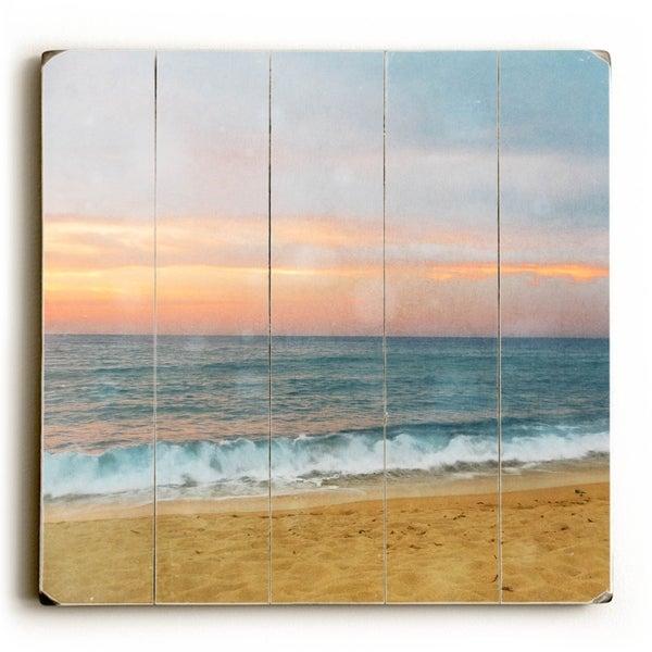 Sky Beach - Planked Wood Wall Decor by Vanessa Fahmy