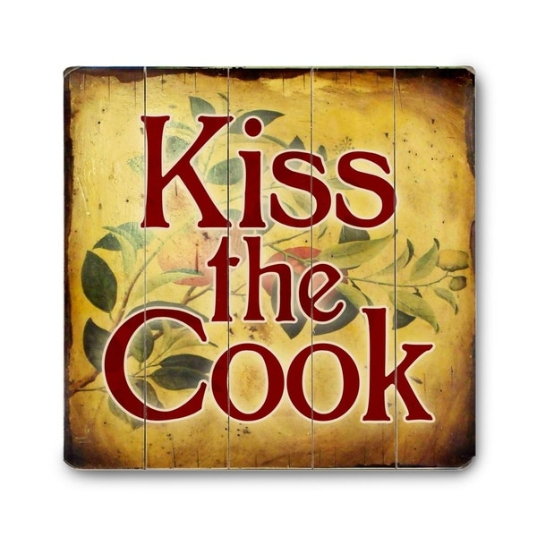 Kiss The Cook - Planked Wood Wall Decor by Artehouse