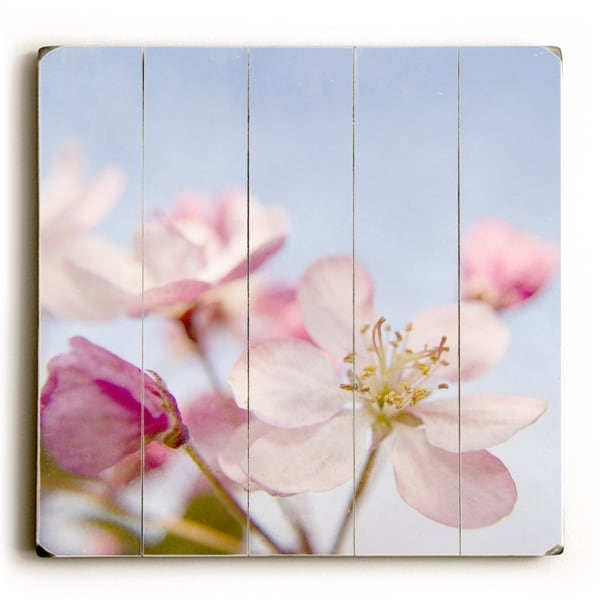 Pink Floral Sky - Planked Wood Wall Decor by Vanessa Fahmy