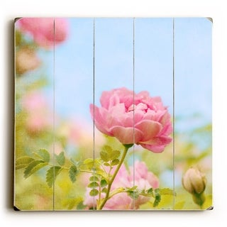 Pink Rose -   Planked Wood Wall Decor by Vanessa Fahmy